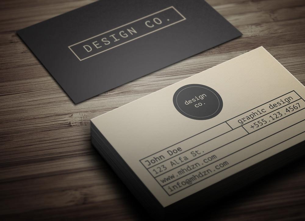 Retro minimalist business card magichat design for Minimalistic business cards