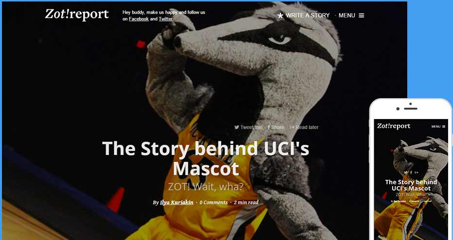 UC Irvine Magazine website design and development
