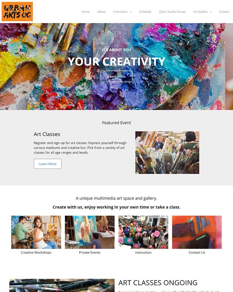 Newport Beach art studio website design MindBody integration portfolio example
