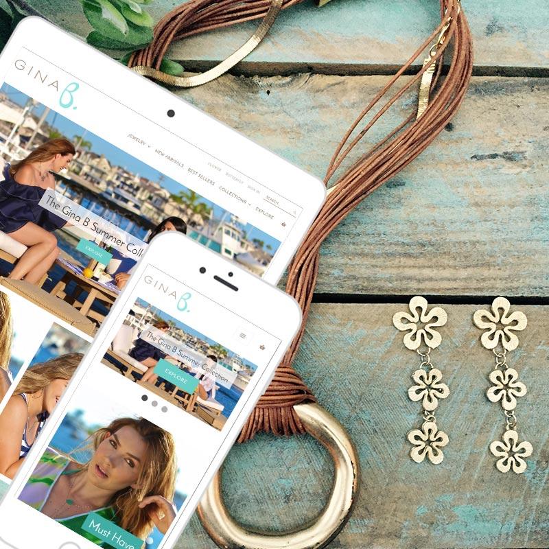 Orange County eCommerce Shpoify store Gina B Jewelry portfolio example