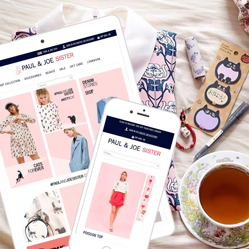 Shopify eCommerce, newsletter, website design and development case study for Paul and Joe USAqu