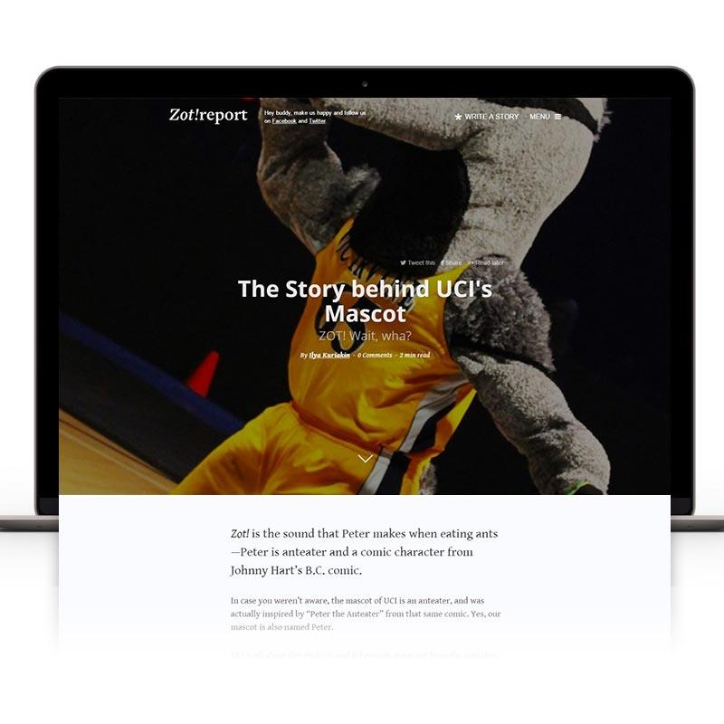 Website development case study for Zot Report UC Irvine