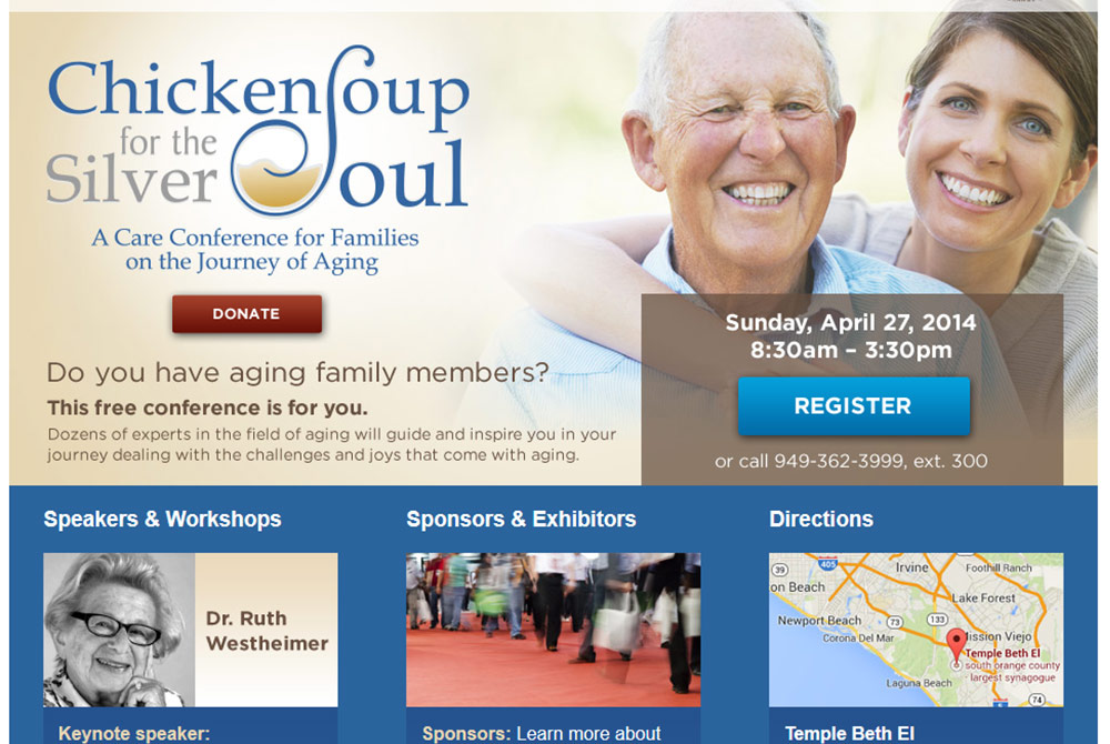 Senior landing page web design