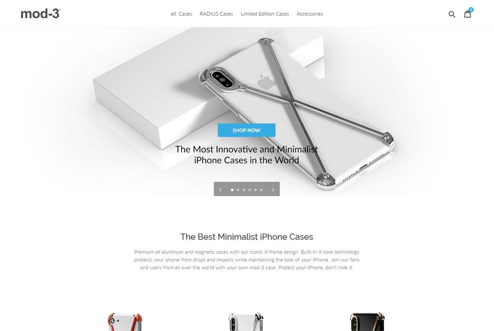 Shopify web design high-tech iphone cases