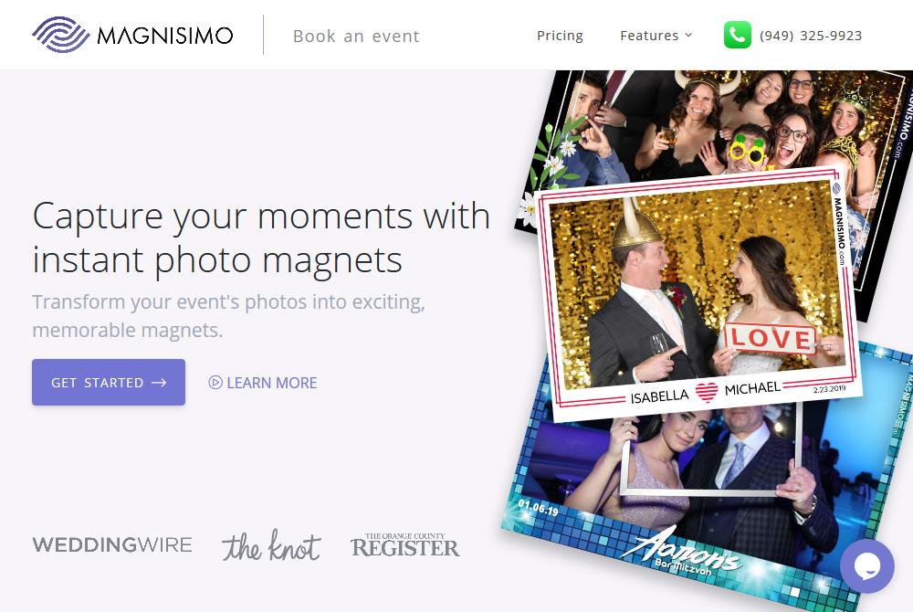 wedding photographer photo booth informational website design orange county