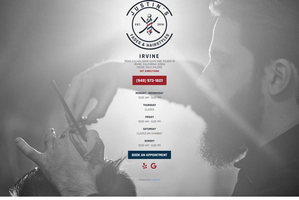 Orange County barbershop web design located in Irvine, CA
