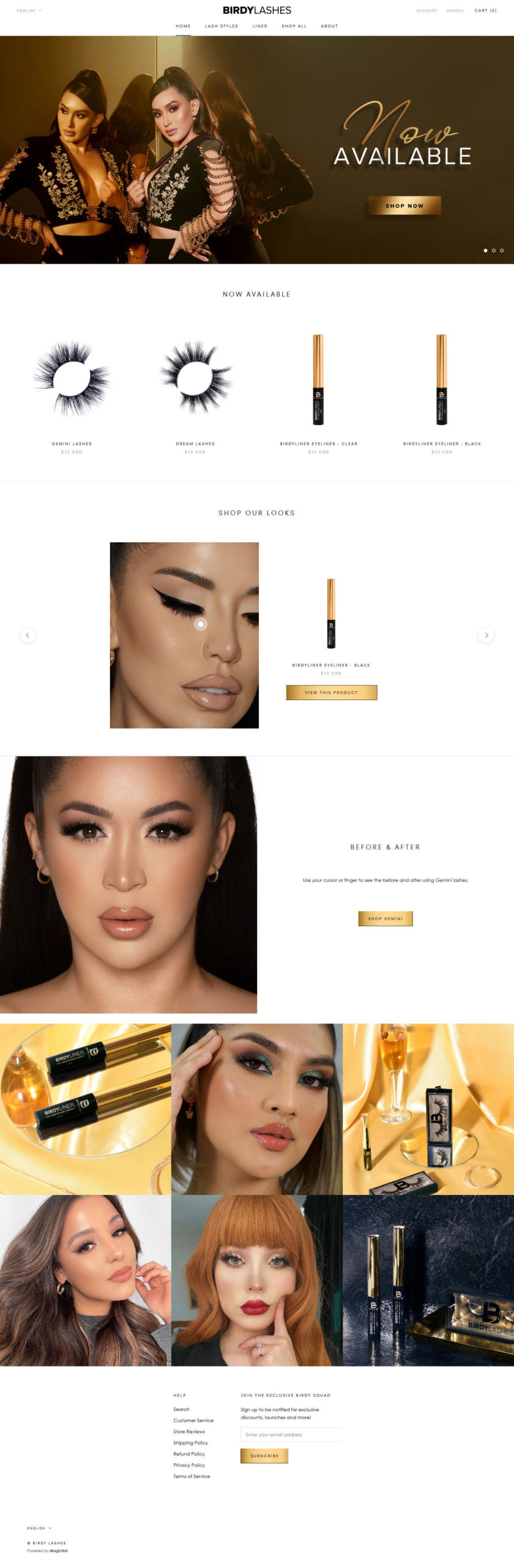 birdylashes cosmetic ecommerce website preview
