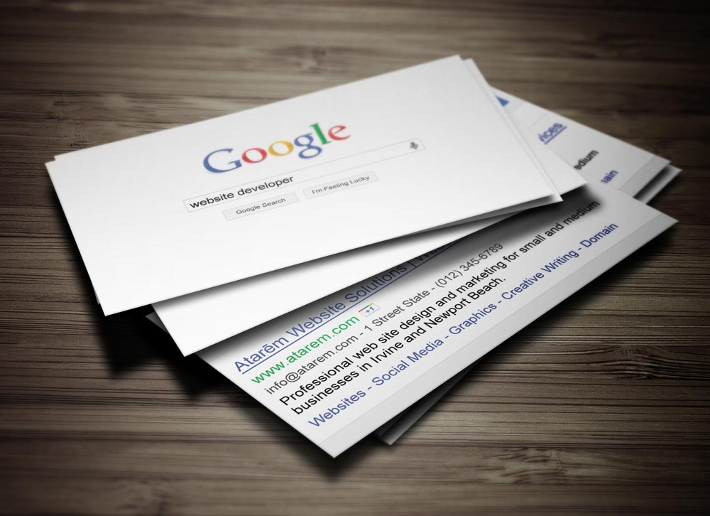 Google business card design ready to print for Google business card templates
